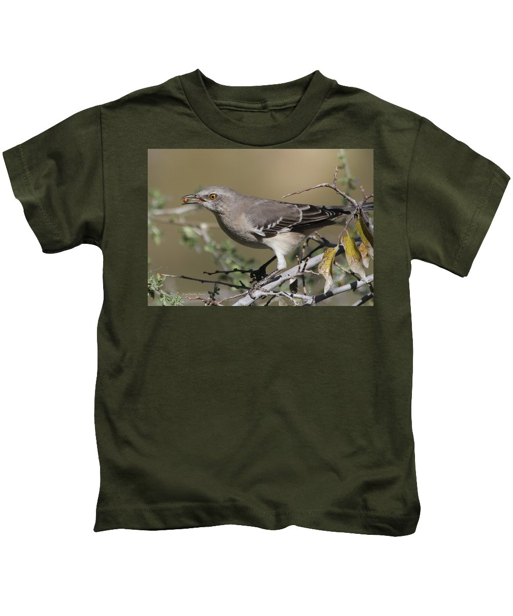 Mocking Bird Kids T-Shirt featuring the photograph Mocking Bird With Ripe Hackberry by Tom Janca