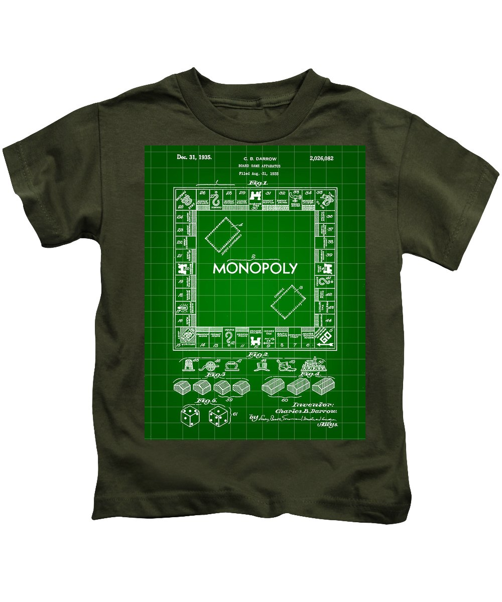 Monopoly Kids T-Shirt featuring the digital art Monopoly Patent 1935 - Green by Stephen Younts