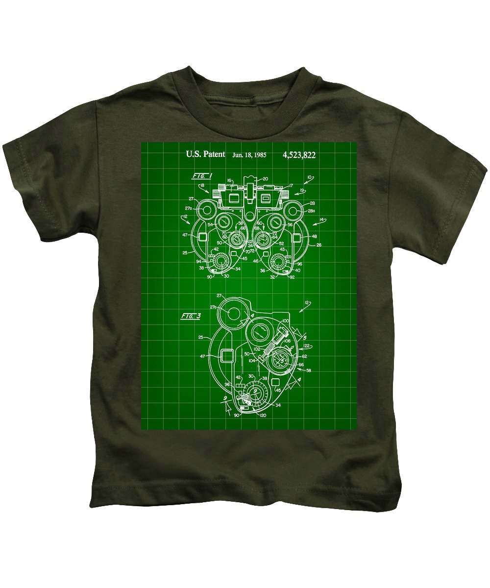 Optical Kids T-Shirt featuring the digital art Optical Refractor Patent 1985 - Green by Stephen Younts