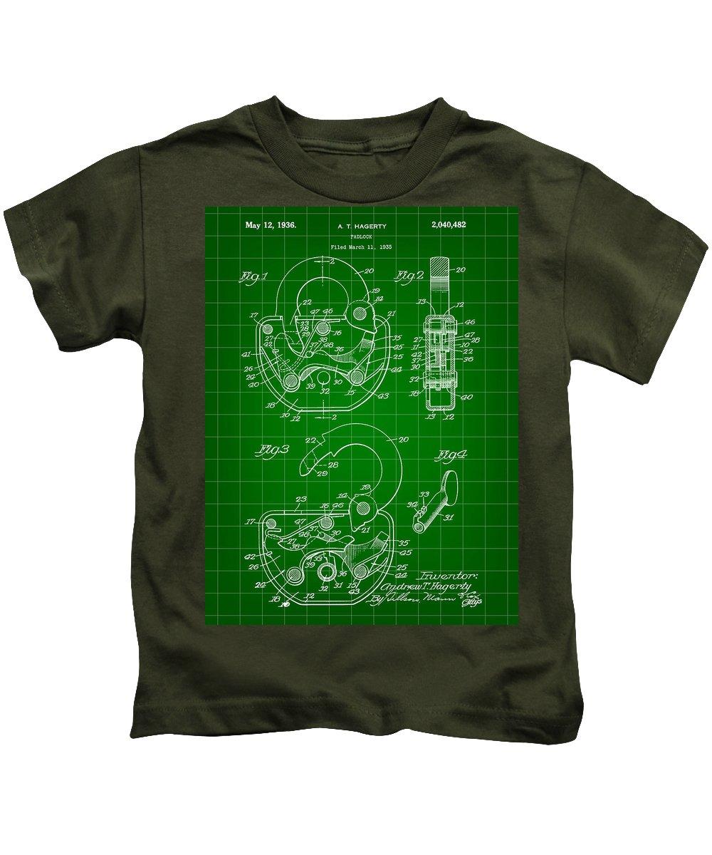 Padlock Kids T-Shirt featuring the digital art Padlock Patent 1935 - Green by Stephen Younts