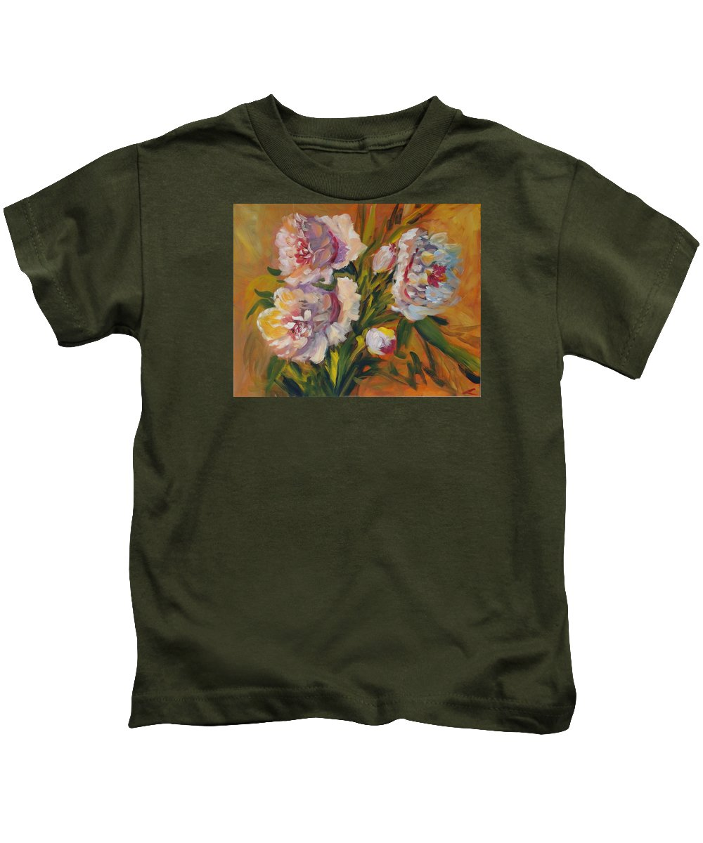 Peons Kids T-Shirt featuring the painting Peons by Elena Sokolova