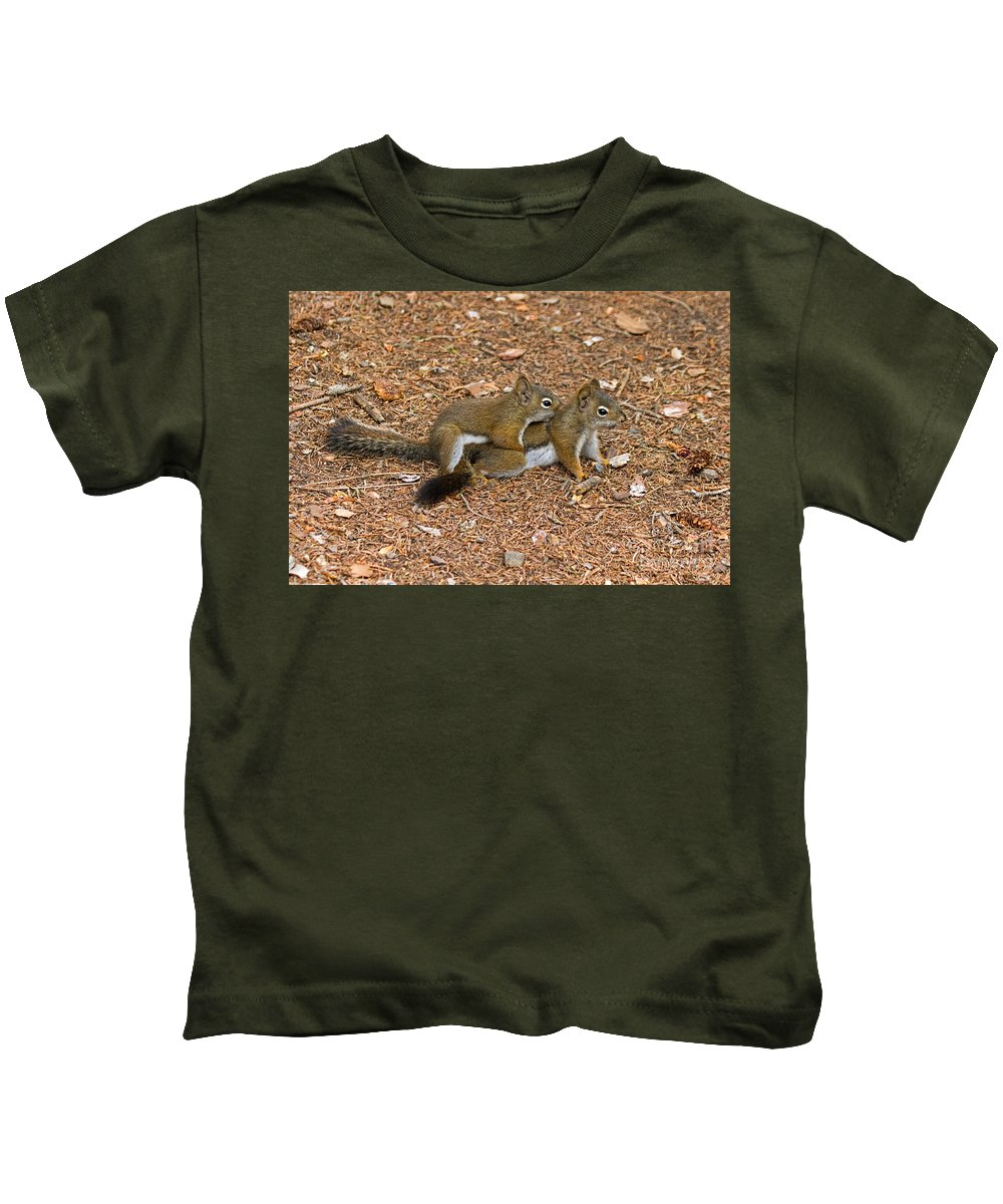 Animal Kids T-Shirt featuring the photograph Pine Squirrel by Fred Stearns