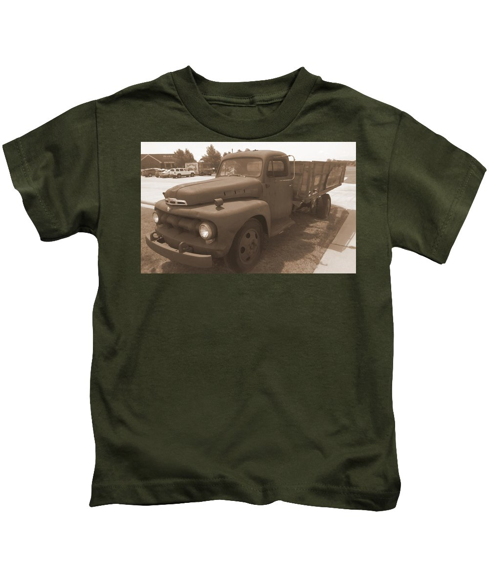 Rust Kids T-Shirt featuring the photograph Rusty Ford Truck by Glenn Aker