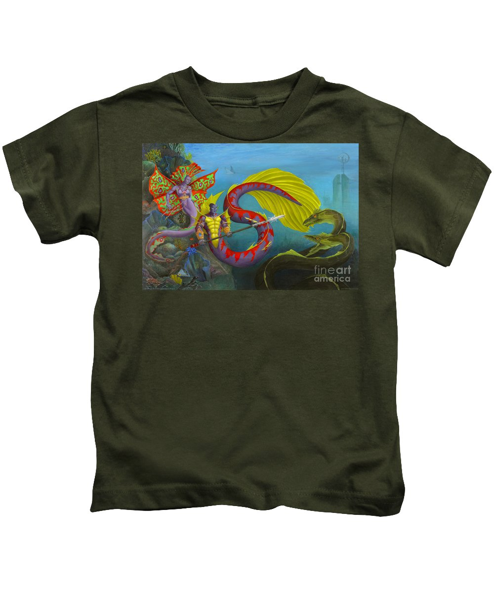 Mermaid Kids T-Shirt featuring the painting The Threat by Melissa A Benson