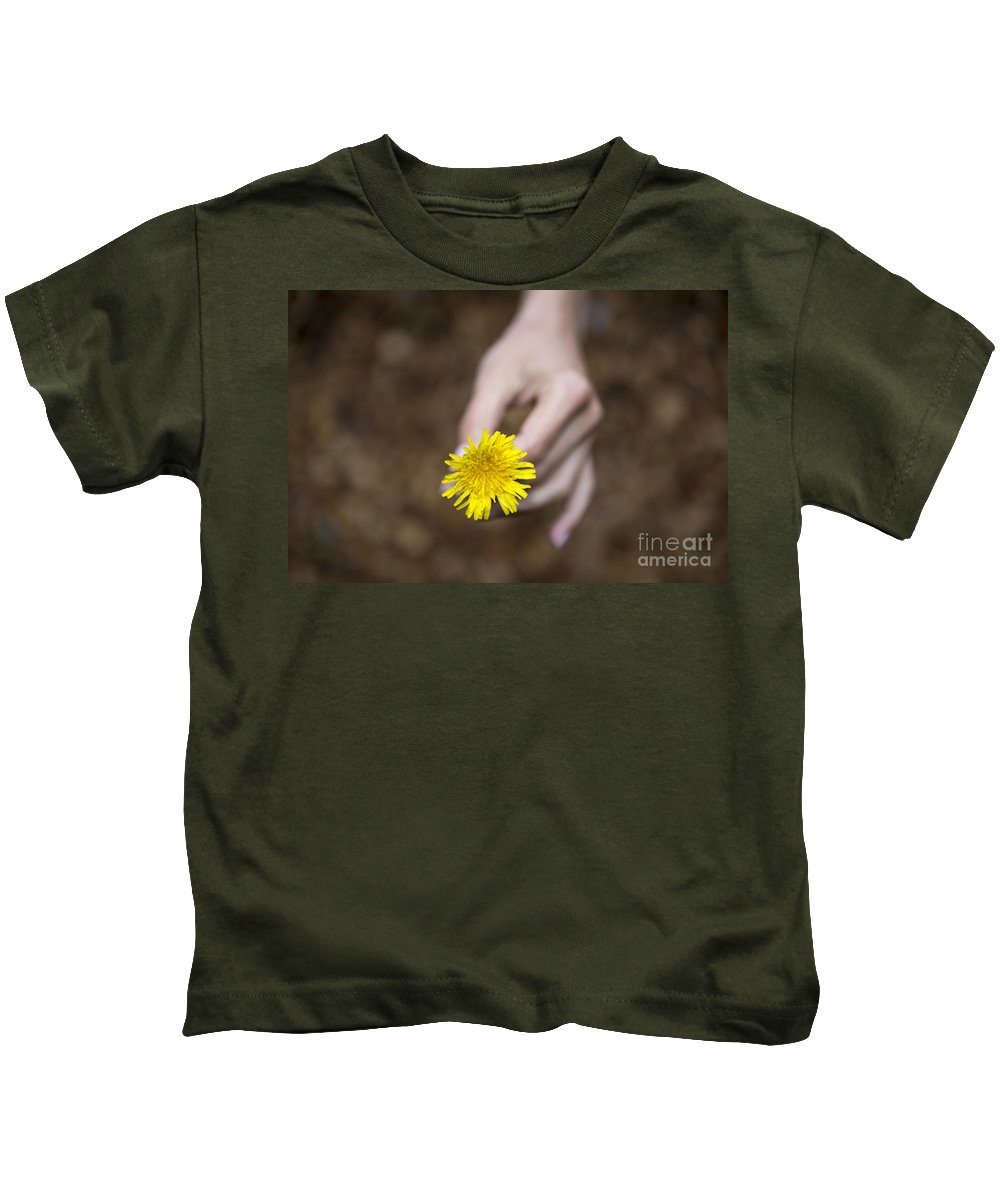 Woman Kids T-Shirt featuring the photograph Yellow Flower by Mats Silvan