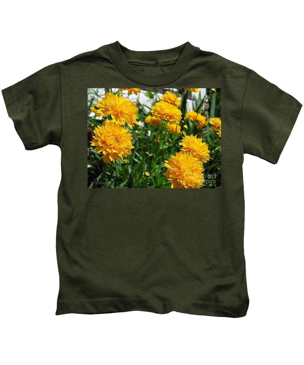 Coreopsis Kids T-Shirt featuring the digital art Coreopsis Named Early Sunrise by J McCombie
