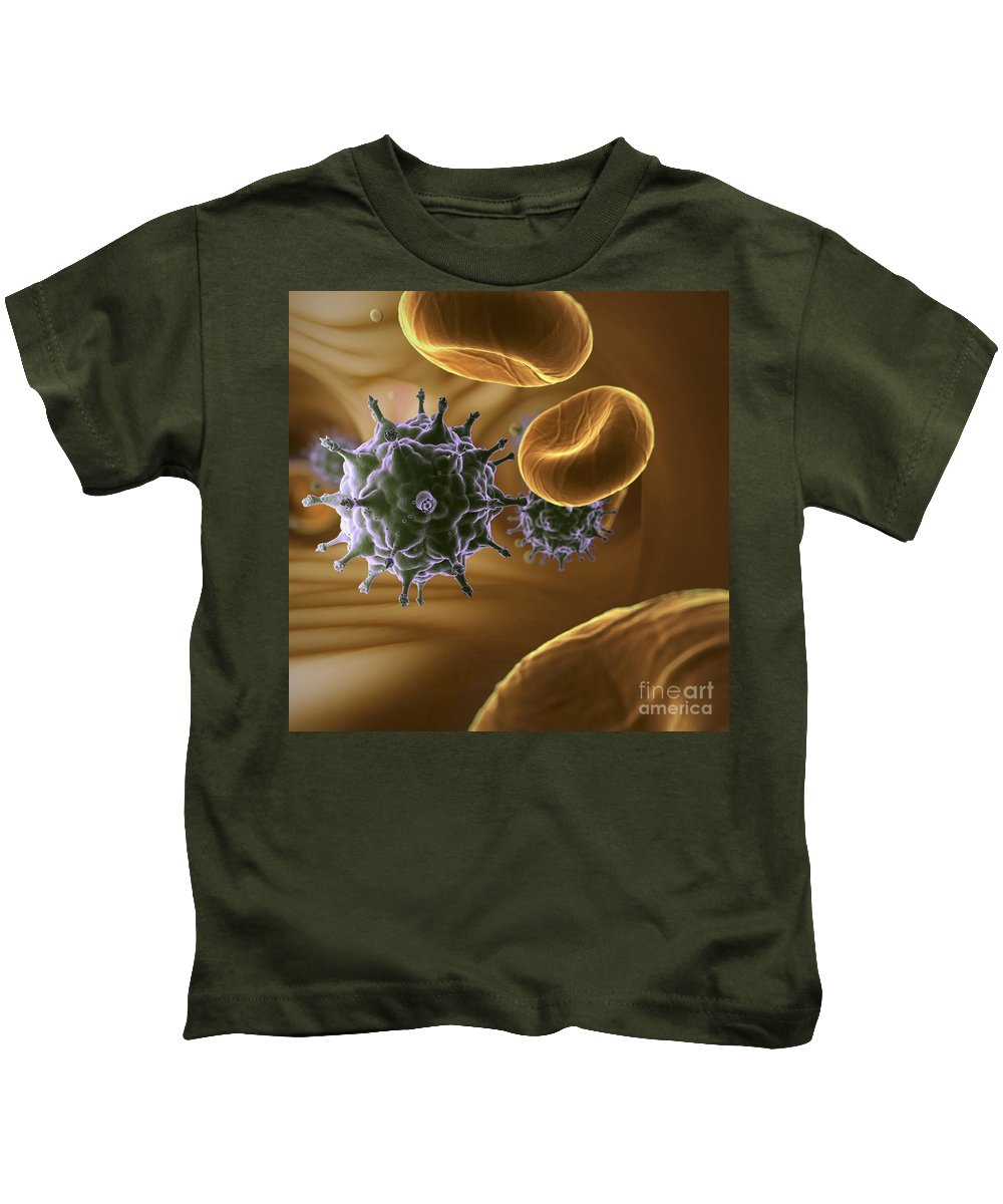 Cells Kids T-Shirt featuring the photograph Hiv Infection by Science Picture Co