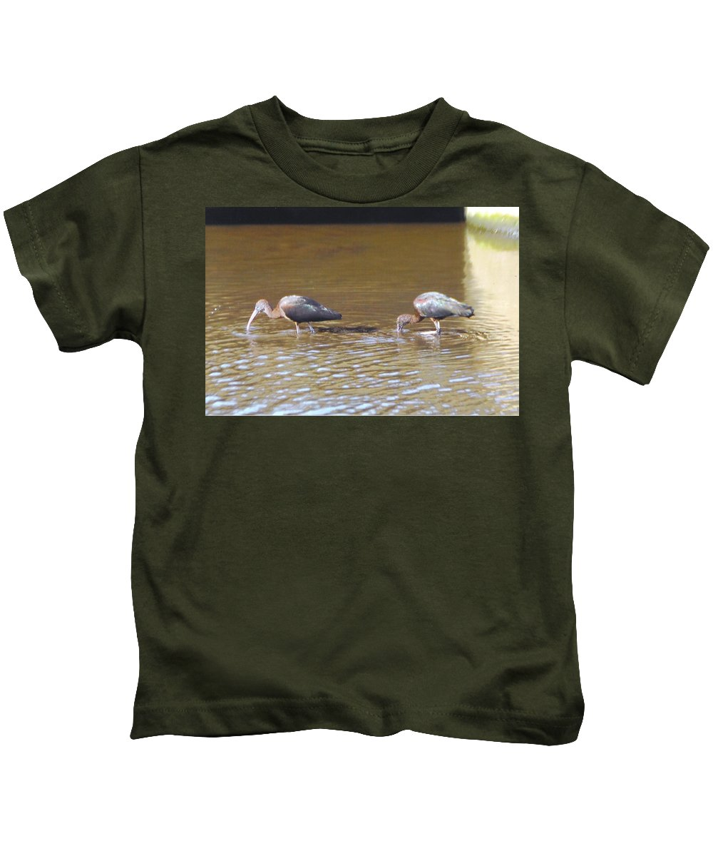 Feeding In Ditch Kids T-Shirt featuring the photograph Ibis by Robert Floyd