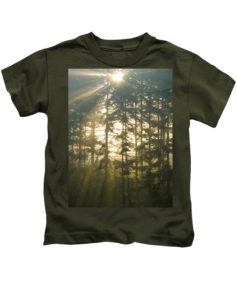 Nature Kids T-Shirt featuring the photograph Light In The Forest by Daniel Csoka