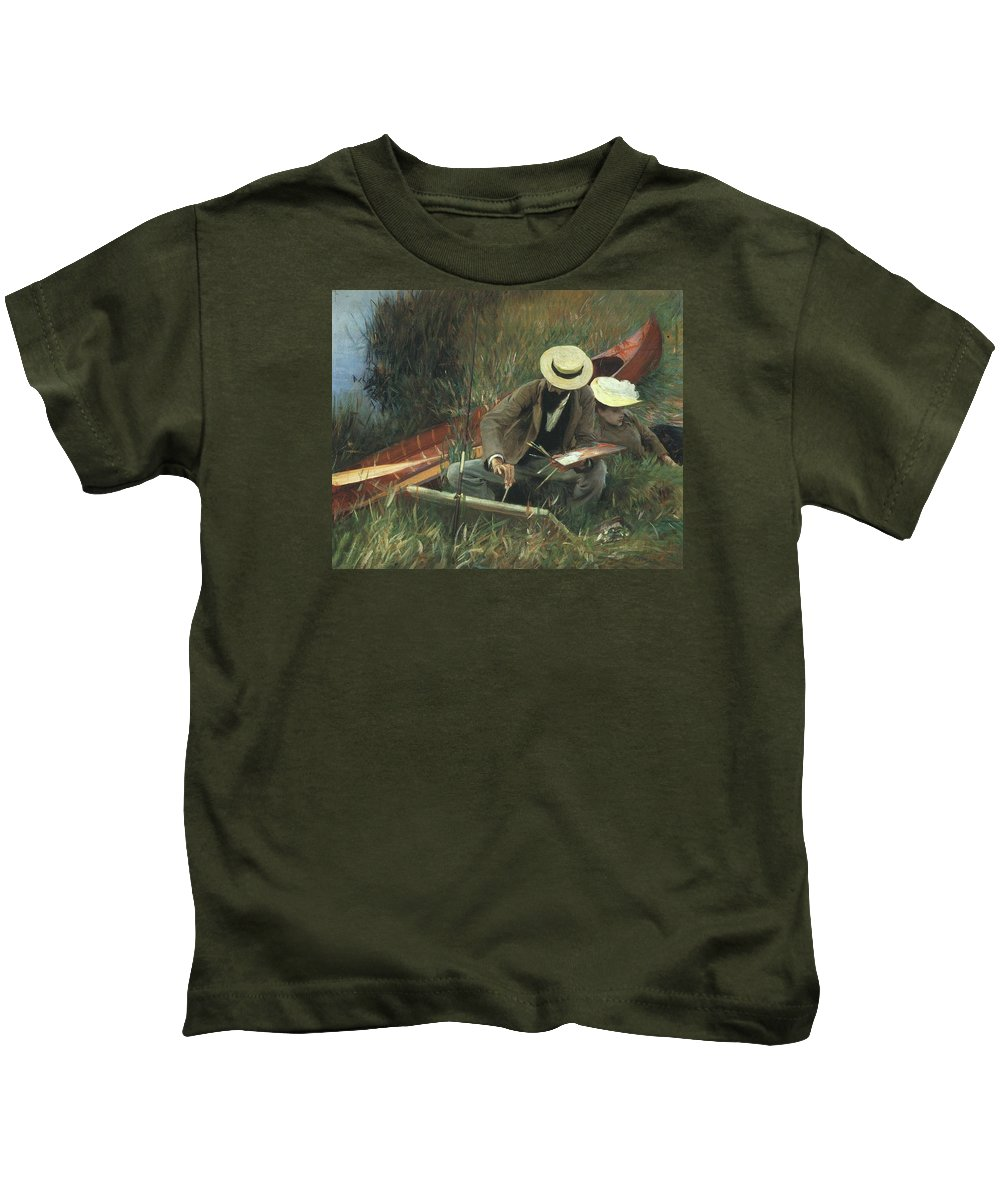 Paul Helleu Kids T-Shirt featuring the painting Paul Helleu Sketching With His Wife by John Singer Sargent