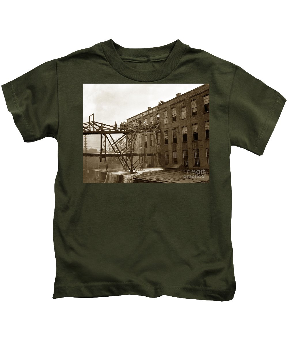 Rochester Kids T-Shirt featuring the photograph Rochester Show Case Co. Fire New York State Circa 1904 by California Views Archives Mr Pat Hathaway Archives