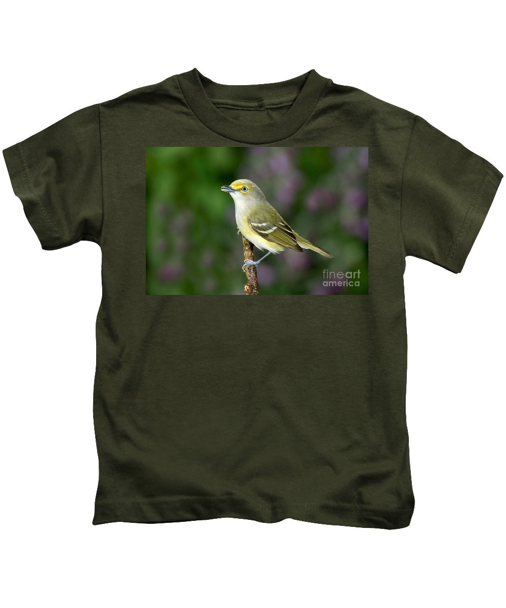 Vireo Griseus Kids T-Shirt featuring the photograph White-eyed Vireo by Anthony Mercieca