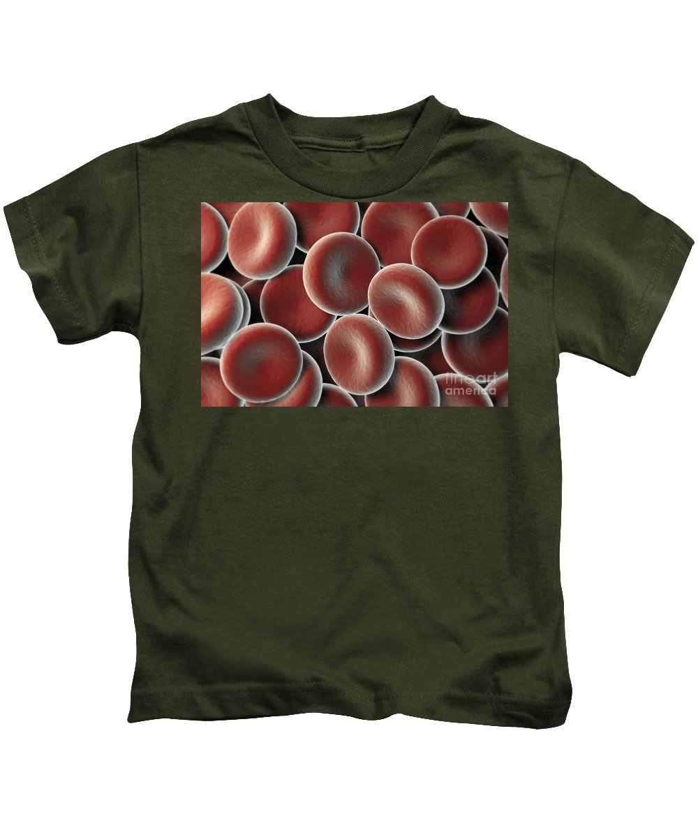 Blood Vessels Kids T-Shirt featuring the photograph Red Blood Cells by Science Picture Co
