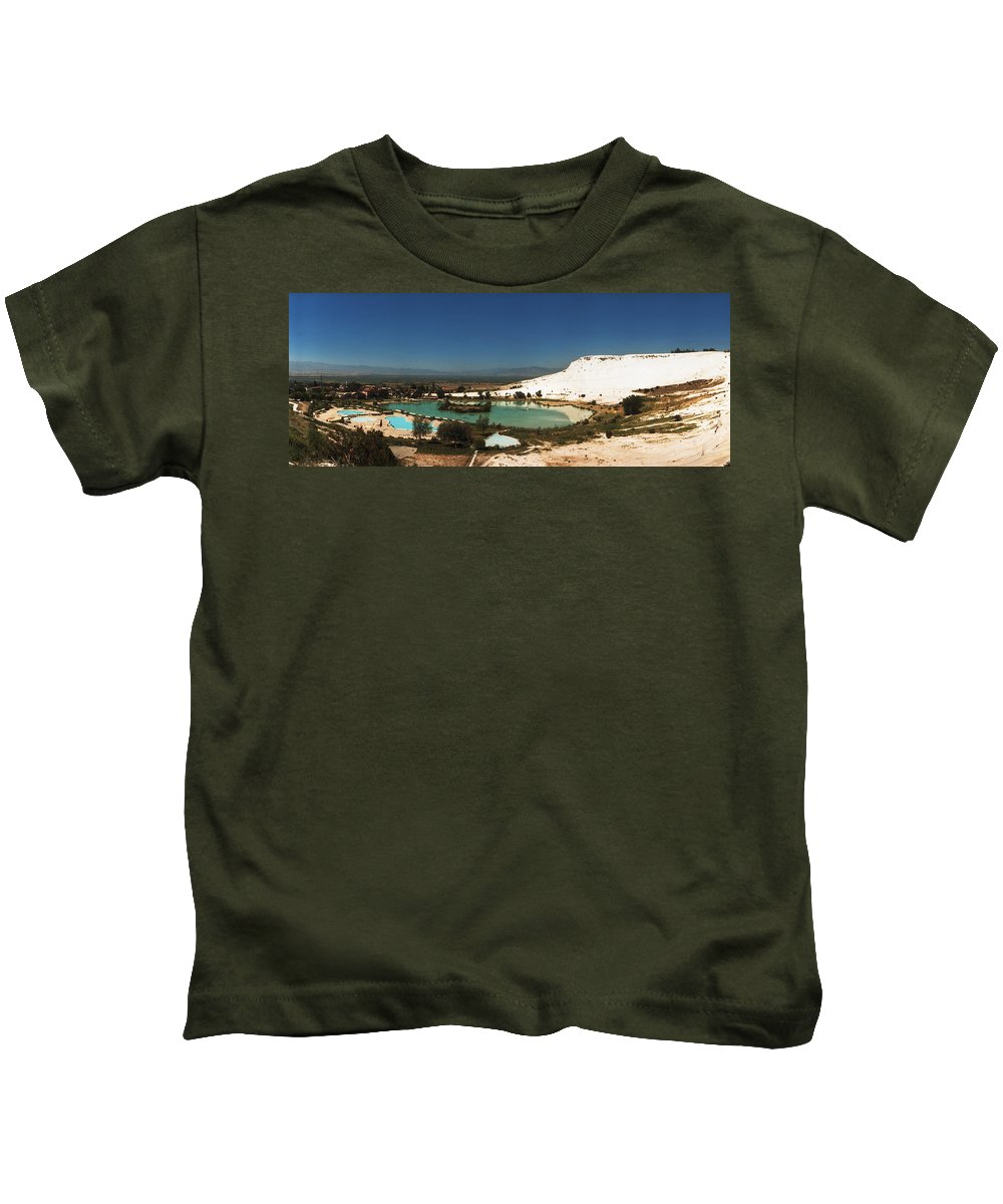 Photography Kids T-Shirt featuring the photograph Hot Springs And Travertine Pool by Panoramic Images