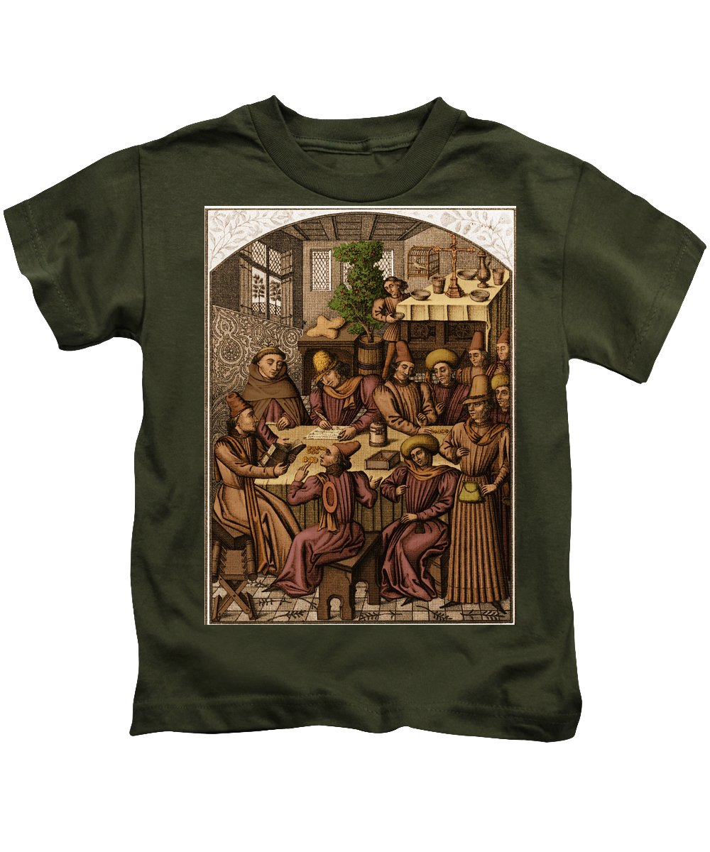 Medieval Kids T-Shirt featuring the photograph Medieval Accountants, 1466 by Science Source