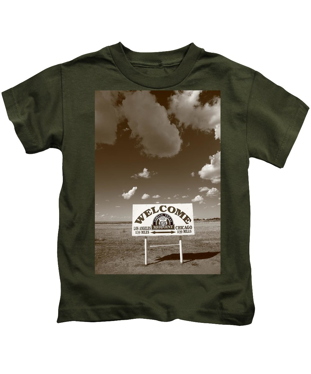 66 Kids T-Shirt featuring the photograph Route 66 - Midpoint Sign by Frank Romeo