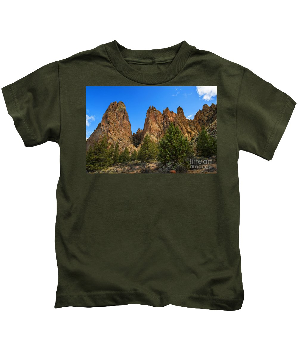 Smith Rock State Park Kids T-Shirt featuring the photograph Smith Rock State Park - Oregon by Yefim Bam