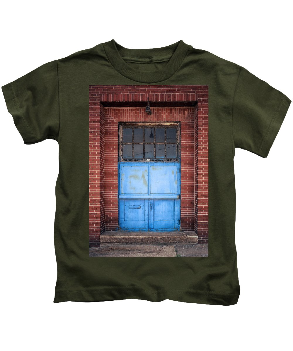 Corrugated Siding Kids T-Shirt featuring the photograph 401 Blue Factory Door by Greg Kluempers
