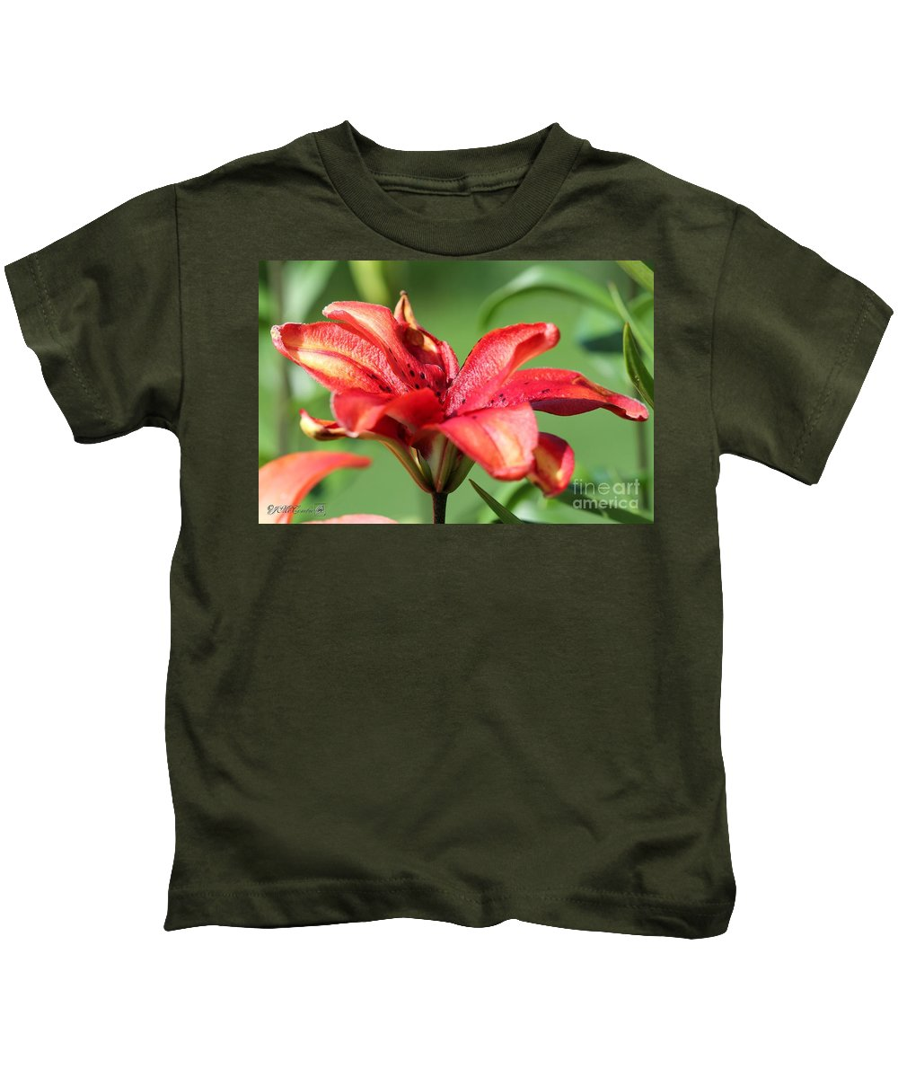 Mccombie Kids T-Shirt featuring the photograph Double Asiatic Lily Named Cocktail Twins by J McCombie