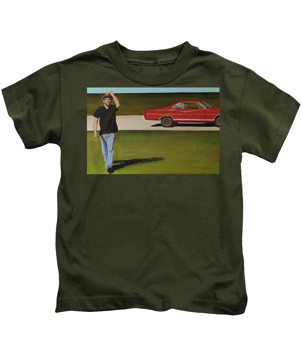 Landscape Kids T-Shirt featuring the painting 67 Ford Galaxie by Kyle Richardson
