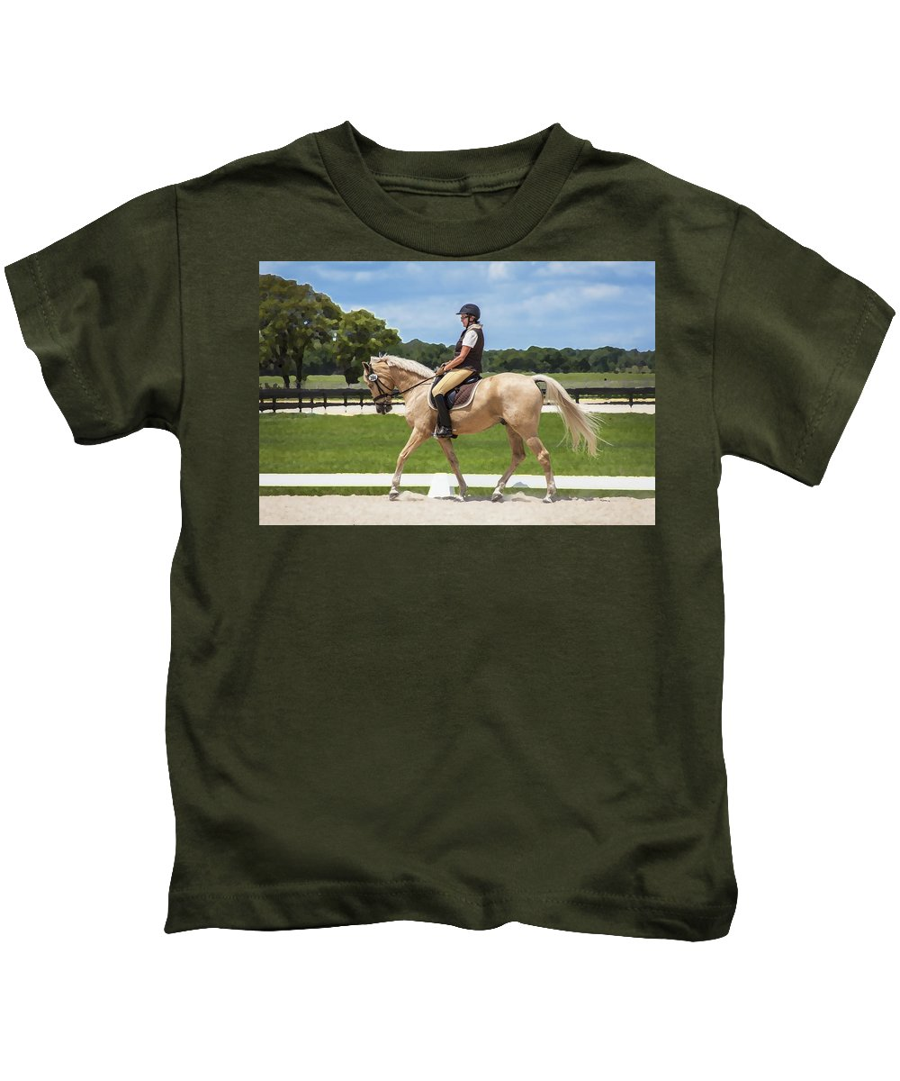 Rocking Horse Stables Kids T-Shirt featuring the photograph Rocking Horse Stables by Rich Franco