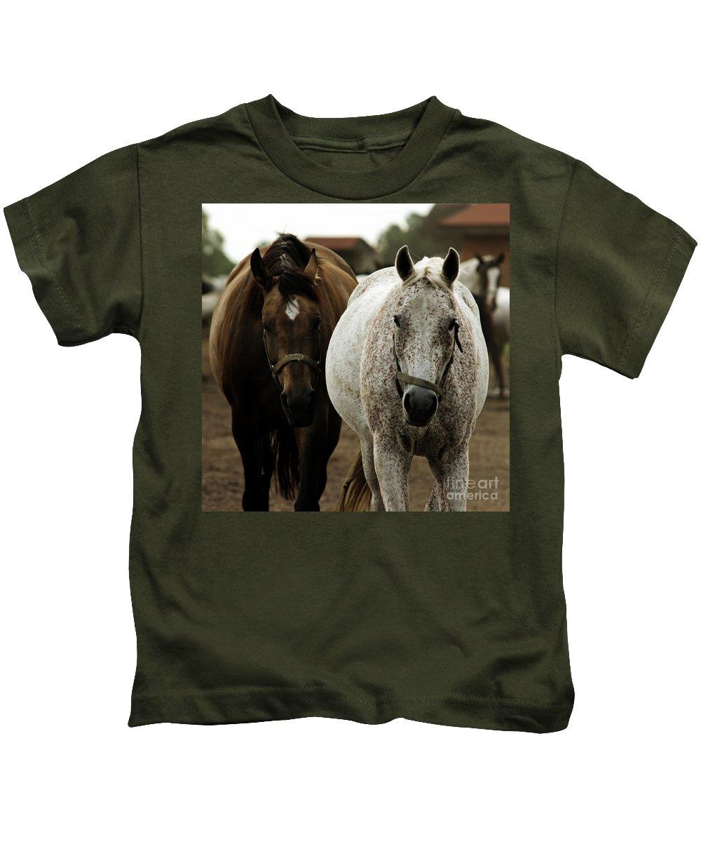 Horse Kids T-Shirt featuring the photograph Horses by Angel Tarantella