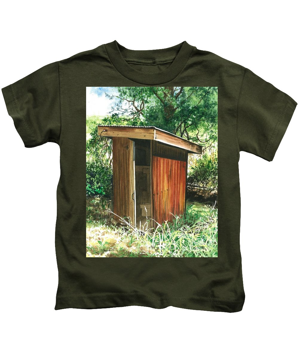 Outhouse Kids T-Shirt featuring the painting A Childhood Memory by Barbara Jewell