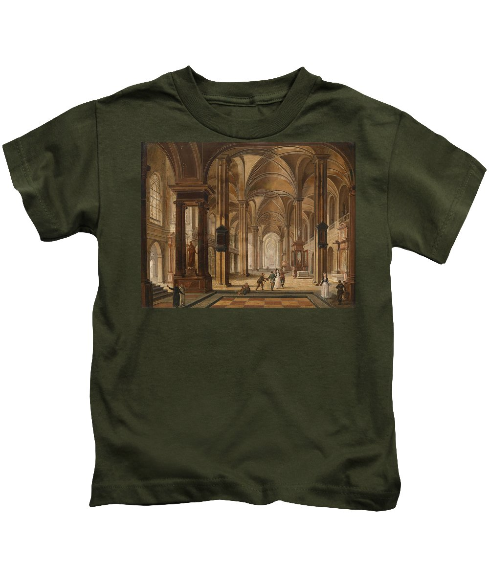 Christian Stoecklin Kids T-Shirt featuring the painting A Church Interior With Elegant People by Christian Stoecklin