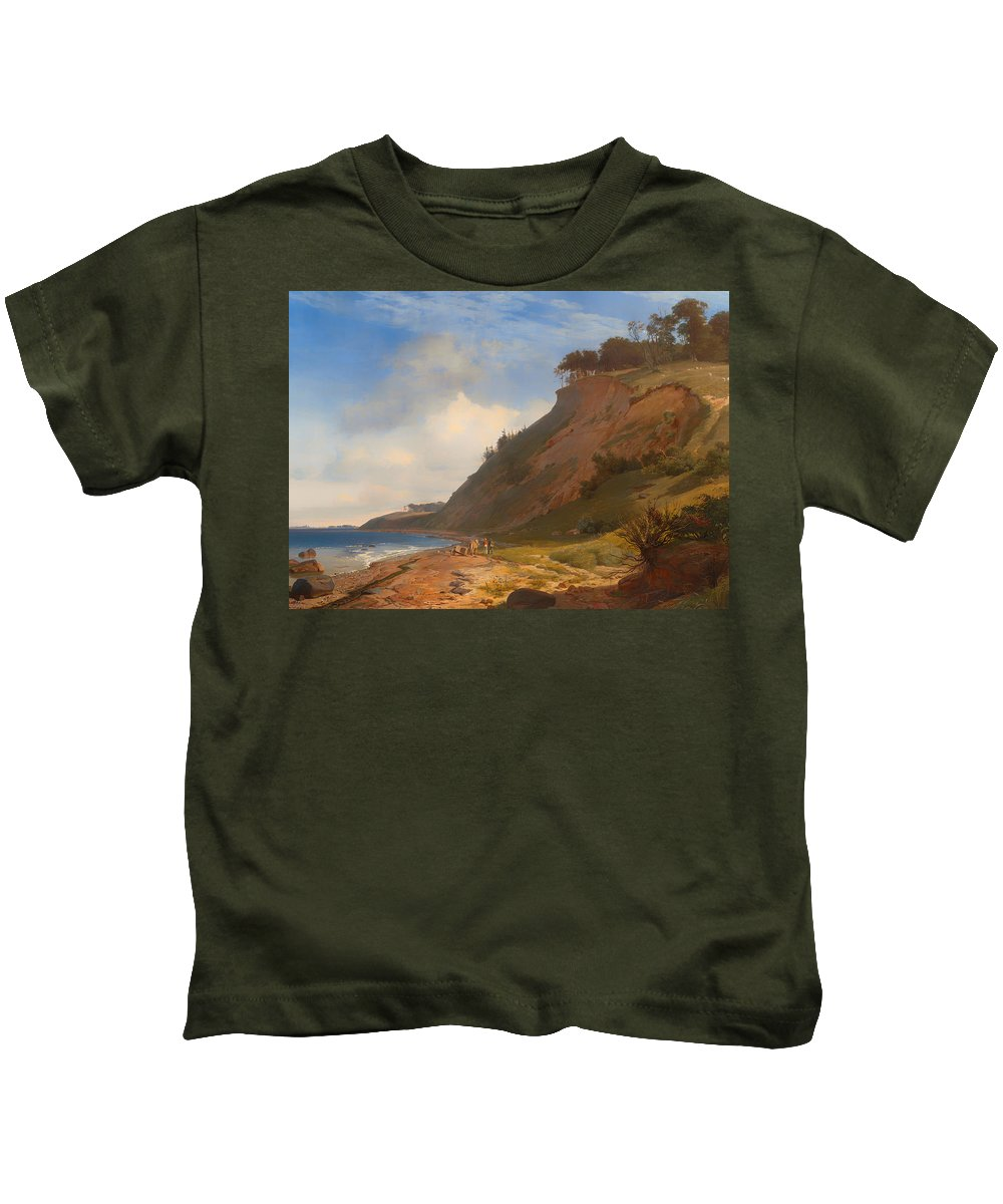 Painting Kids T-Shirt featuring the painting A Danish Coast by Mountain Dreams