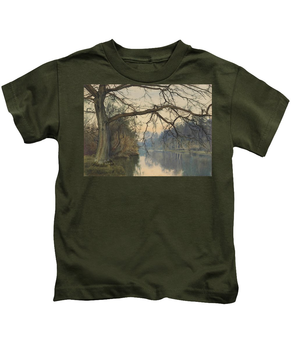 River Kids T-Shirt featuring the painting A Great Tree On A Riverbank by William Fraser Garden