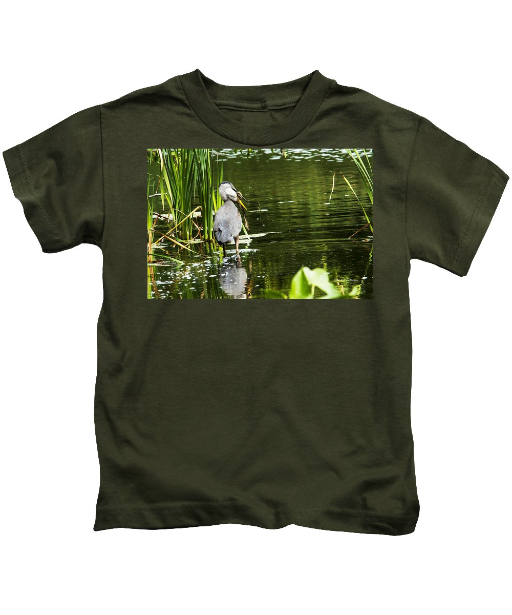 Great Blue Heron Kids T-Shirt featuring the photograph A Missing Frog by Edward Peterson