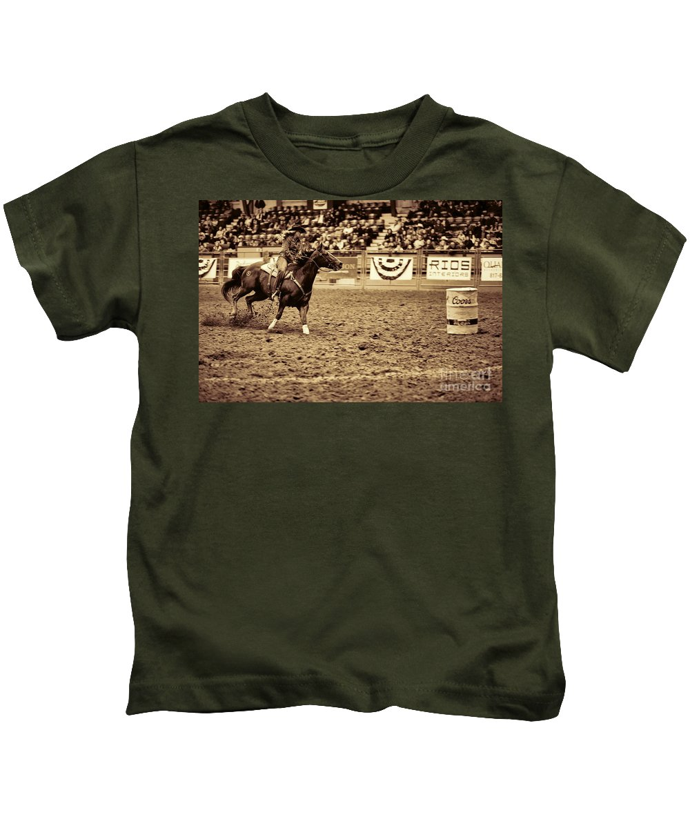 Night Kids T-Shirt featuring the photograph A Night At The Rodeo V22 by Douglas Barnard
