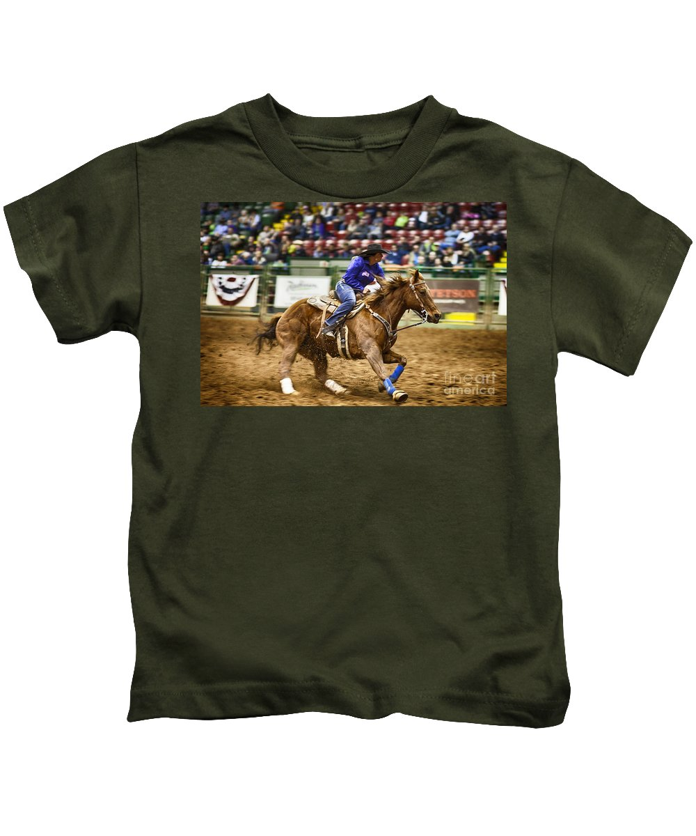 Night Kids T-Shirt featuring the photograph A Night At The Rodeo V30 by Douglas Barnard