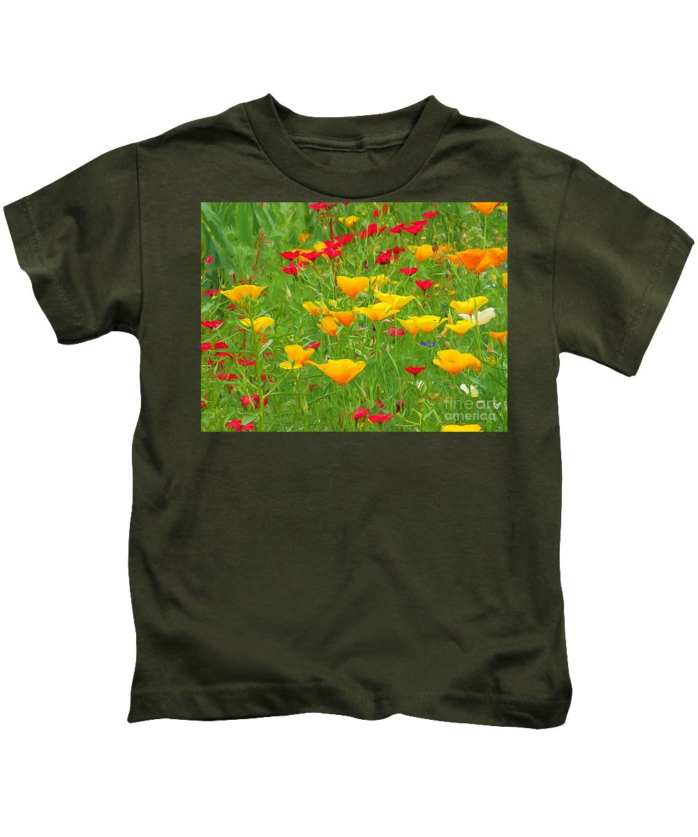 Tuscan Poppies Kids T-Shirt featuring the photograph A Painting Tuscan Poppies by Mike Nellums