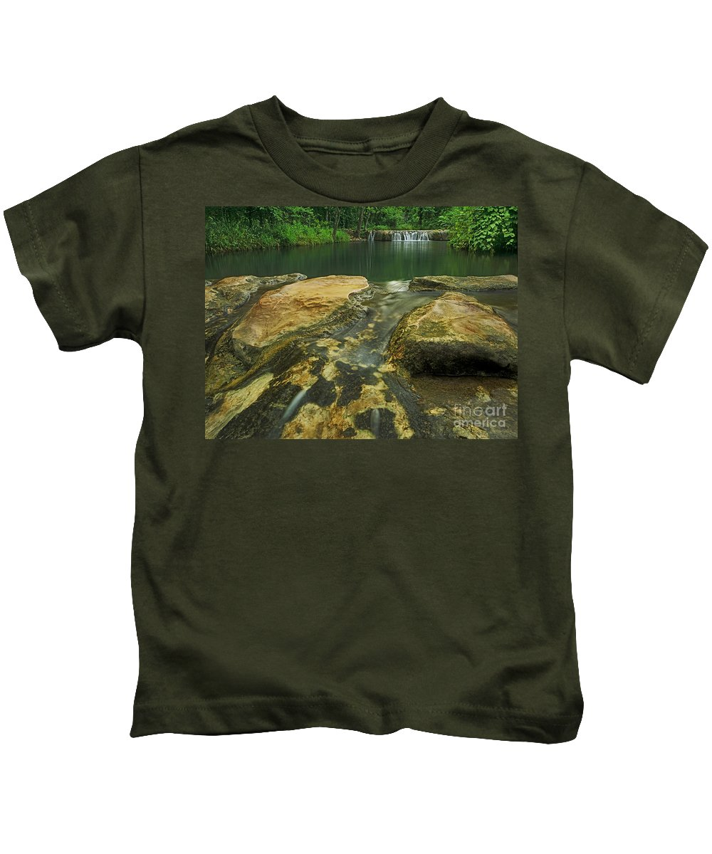 North America Kids T-Shirt featuring the photograph A Peaceful Early Morning At Little Niagra Waterfall A by Dave Welling