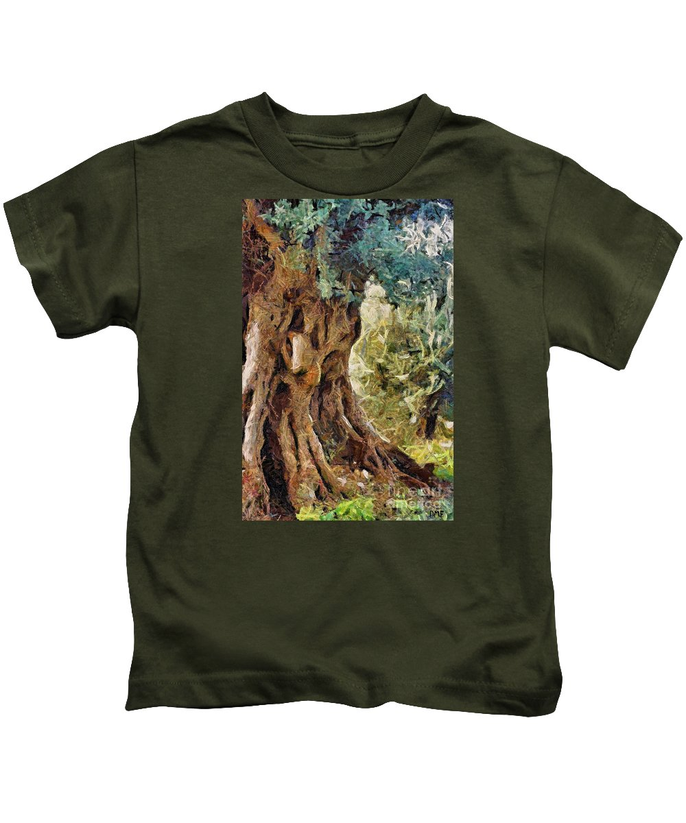Olive Tree Kids T-Shirt featuring the painting A Really Old Olive Tree by Dragica Micki Fortuna