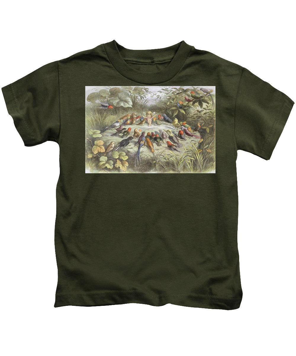 Bird Kids T-Shirt featuring the drawing A Rehearsal In Fairy Land, Illustration by Richard Doyle