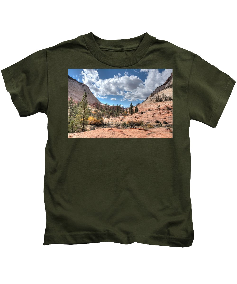 Landscape Kids T-Shirt featuring the photograph A Sandstone Valley by John M Bailey