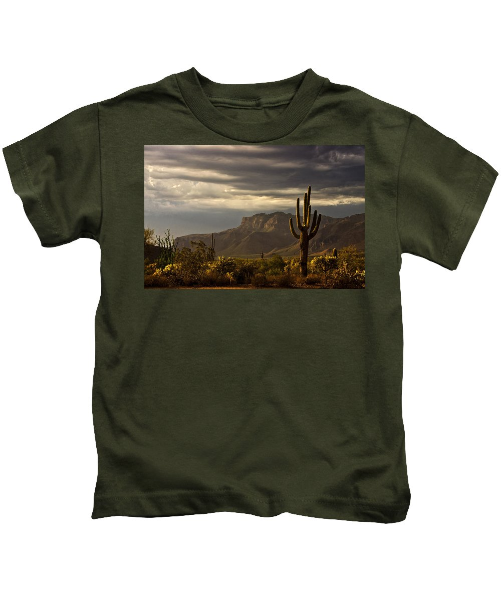 Arizona Kids T-Shirt featuring the photograph A Stormy Evening In The Superstitions by Saija Lehtonen