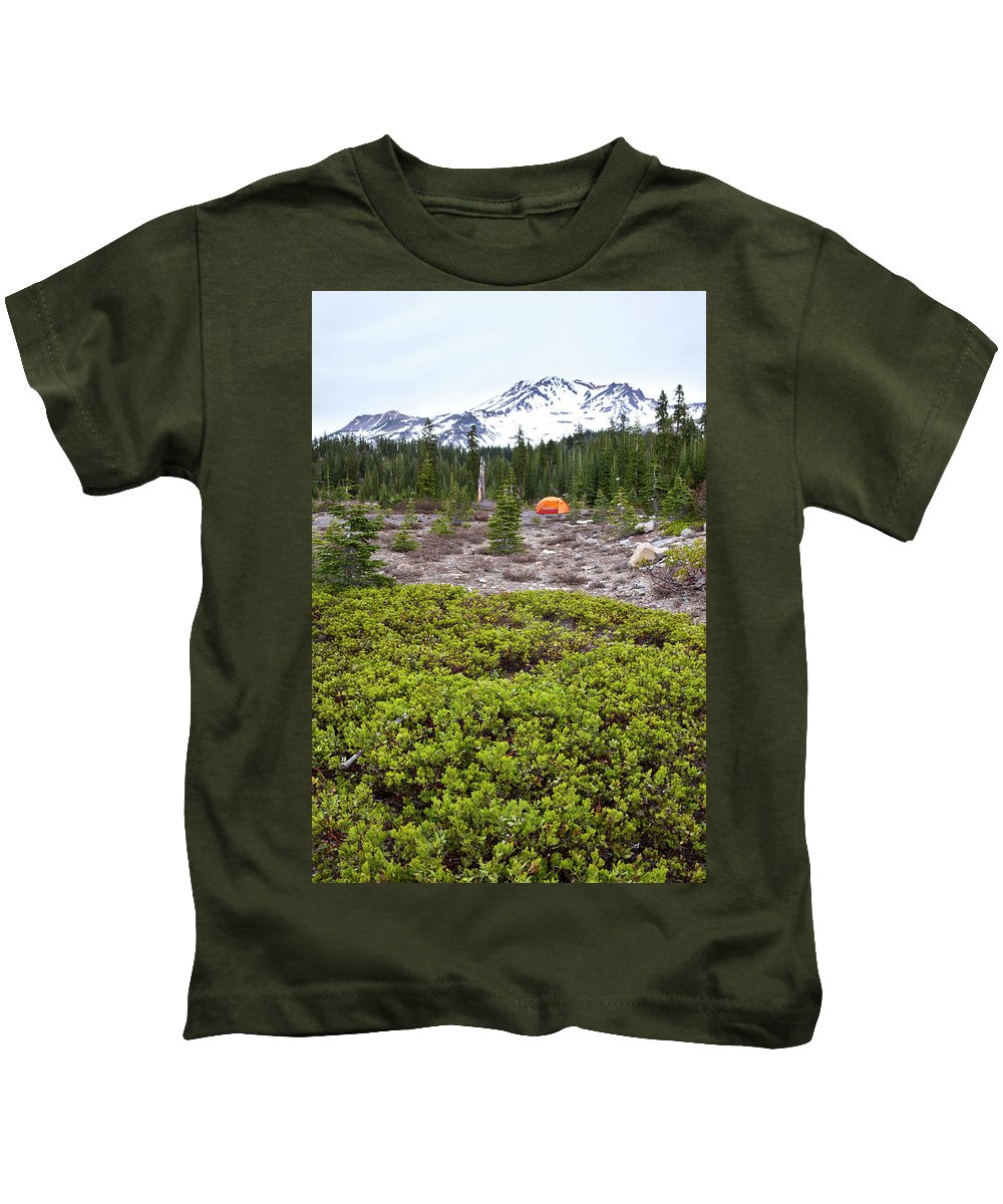 Adventure Kids T-Shirt featuring the photograph A Summer Day Camping At The Foot Of Mt by Joshua Huber