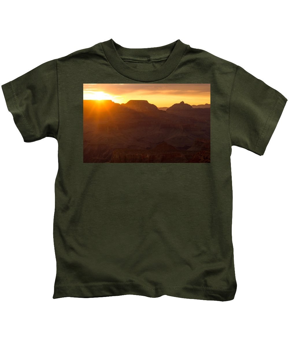 Grand Canyon Kids T-Shirt featuring the photograph A Sunrise To Make One Silent by Kathleen Odenthal
