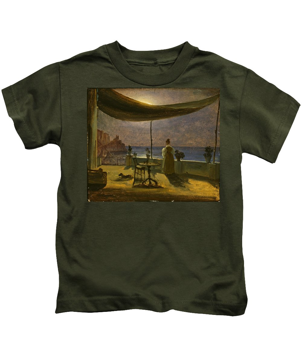 Thomas Fearnley Kids T-Shirt featuring the painting A Terrace In Amalfi In Moonlight by Thomas Fearnley