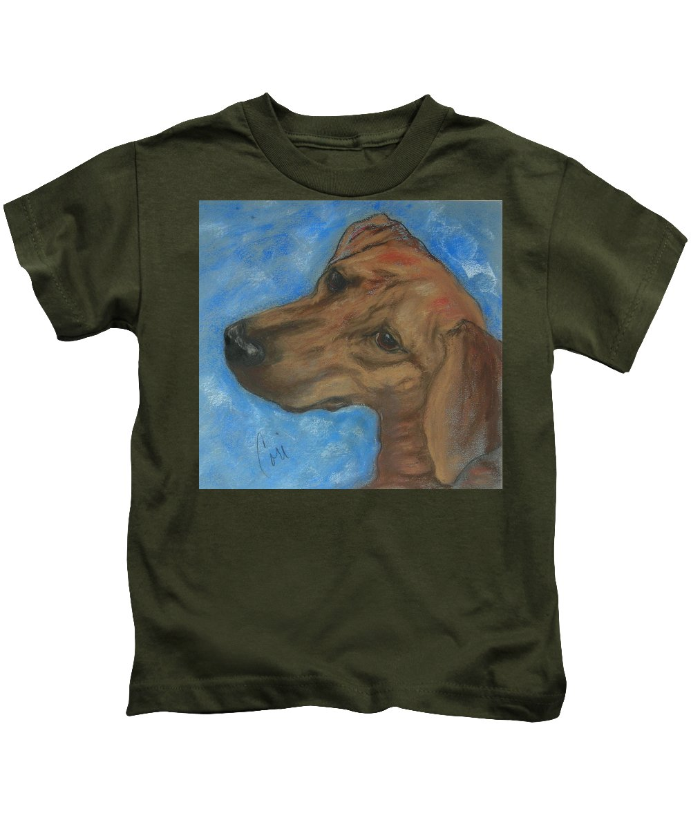 Pastel Kids T-Shirt featuring the drawing A Twist Of Might by Cori Solomon