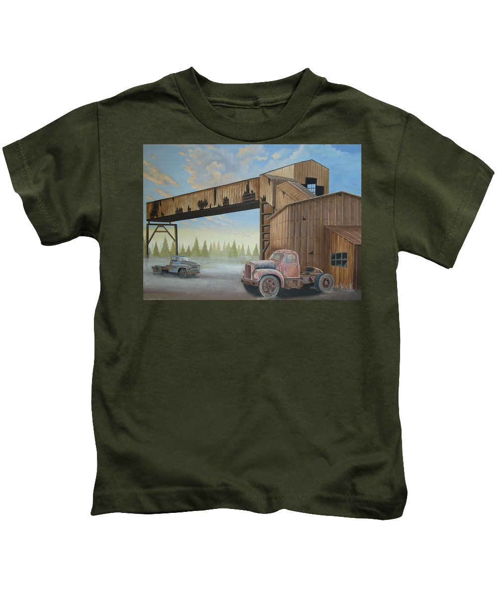 Old Truck Kids T-Shirt featuring the painting Abandoned Mine by Stuart Swartz