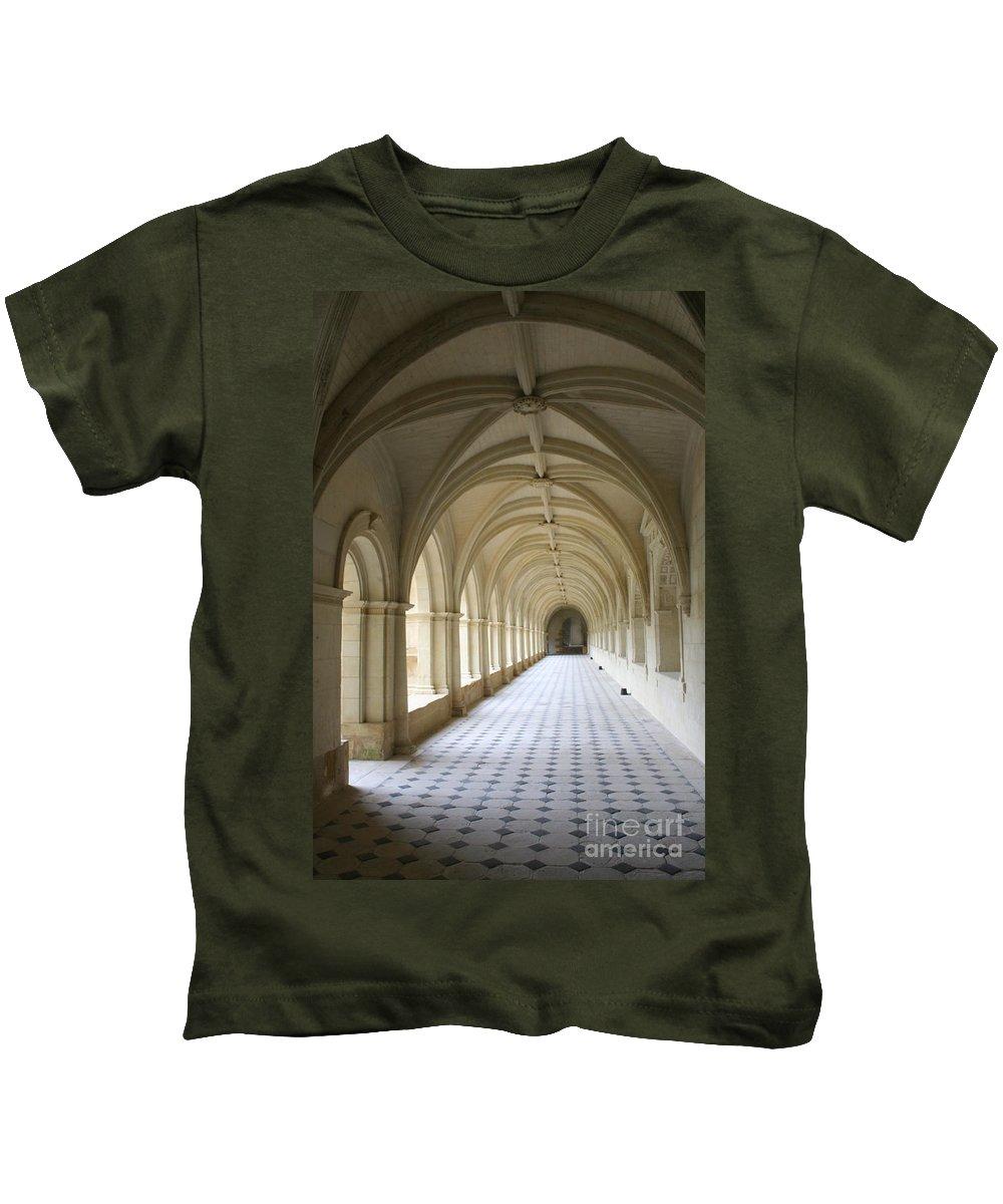 Cloister Kids T-Shirt featuring the photograph Abbaye De Frontevraud Cross Coat by Christiane Schulze Art And Photography