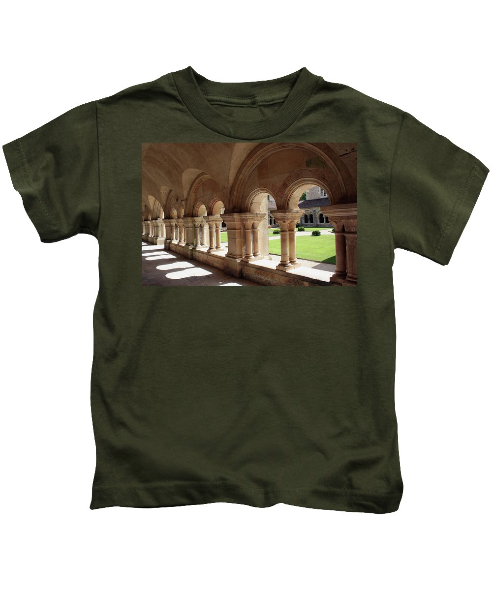 Cloister Vault Kids T-Shirt featuring the photograph Abbey Fontenay - Cloister Vault by Christiane Schulze Art And Photography