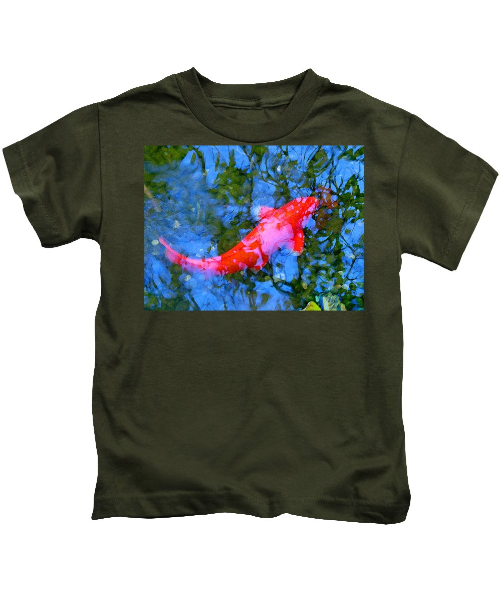 Abstract Kids T-Shirt featuring the painting Abstract Koi 4 by Amy Vangsgard