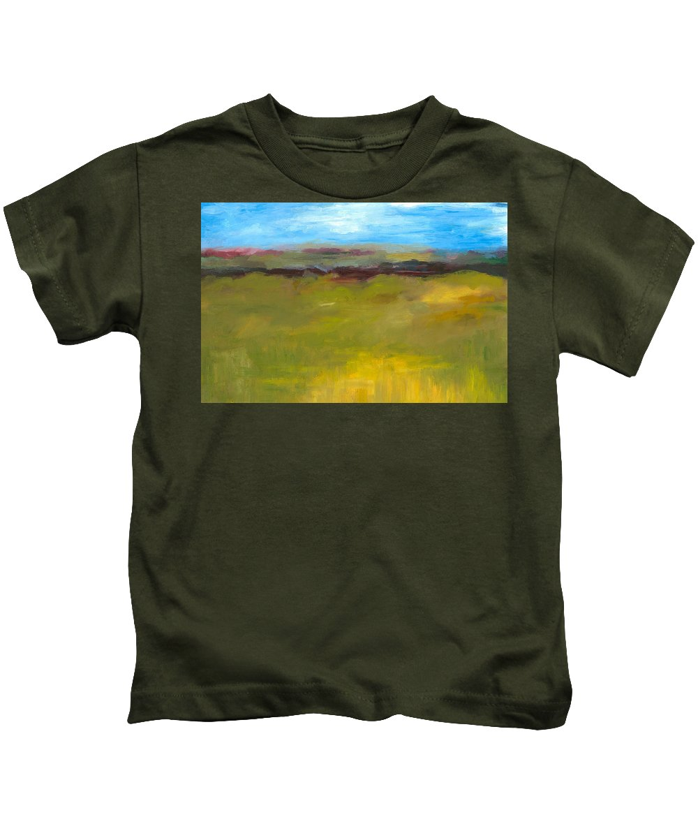Abstract Expressionism Kids T-Shirt featuring the painting Abstract Landscape - The Highway Series by Michelle Calkins
