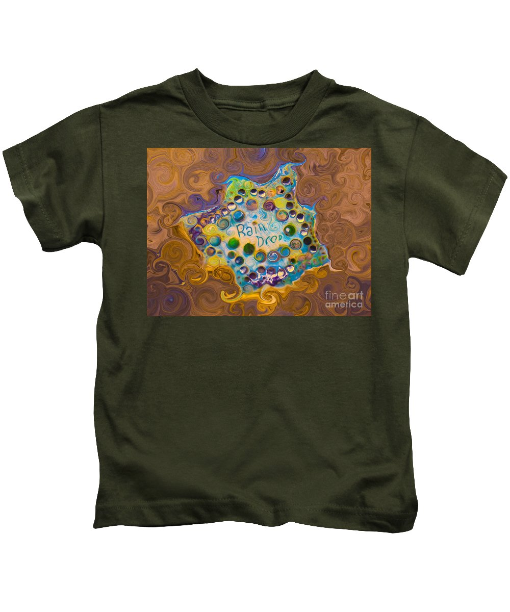 Georgia Okeefe Kids T-Shirt featuring the painting Abstract Rain Drop by Omaste Witkowski