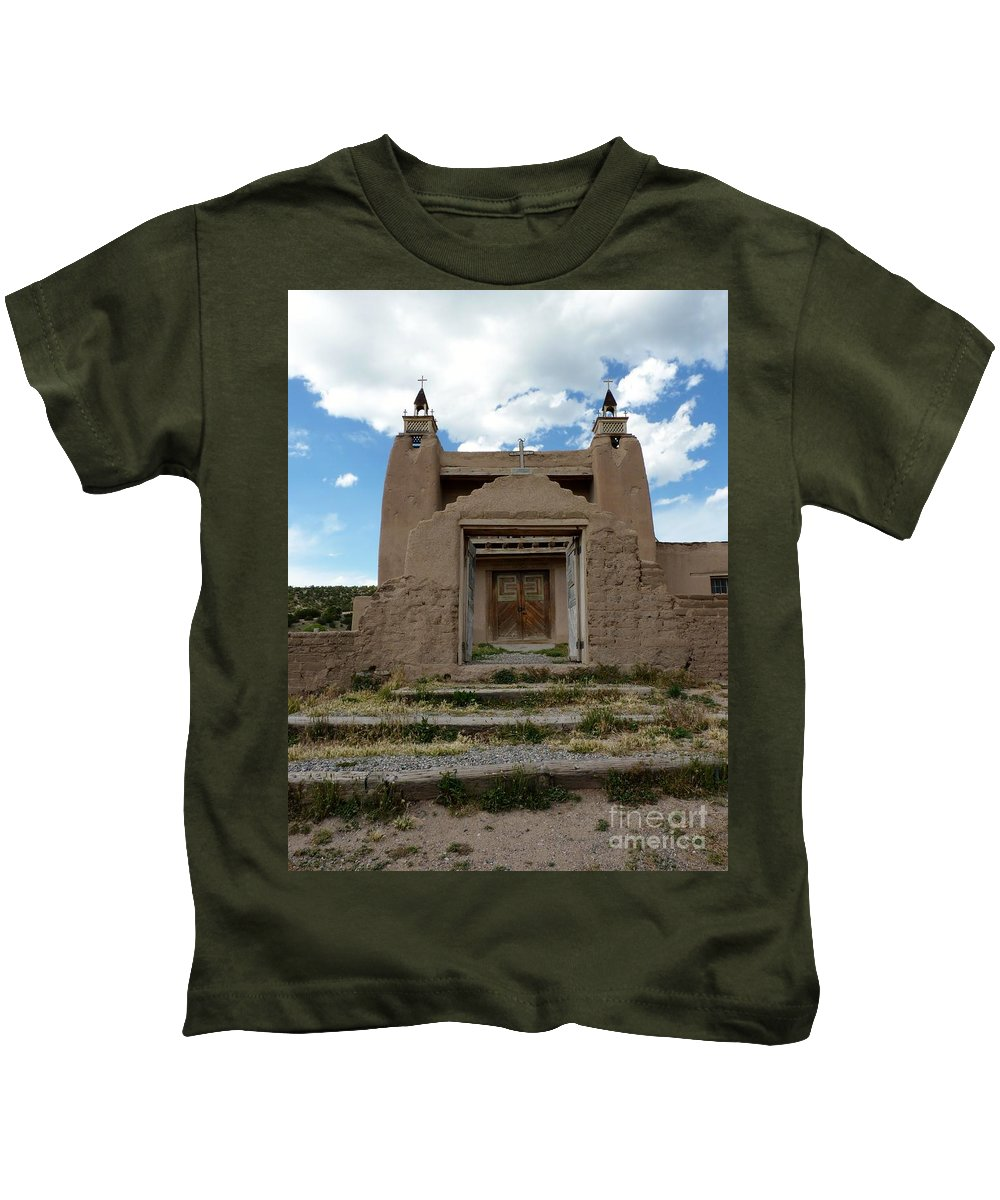 Religious Kids T-Shirt featuring the photograph Adobe Church by MAK Photography
